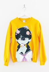 yellow,alien,school girl,mushrooms,sweatshirt,one eyed monster