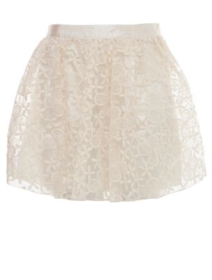 White Floral Lace Layered Skater Skirt