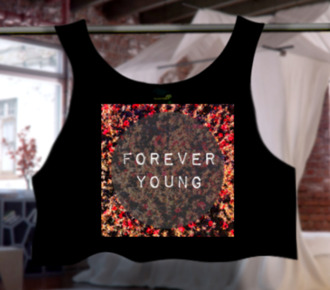 top forever young summer top outfit floral floral top floral crop top cute crop top t-shirt official tops 1direction newf ashions style forever young t-shirt forever 21 summer outfits