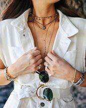 sunglasses,rayban,jewels,jewelry,bracelets,ring,white top,necklace,choker necklace