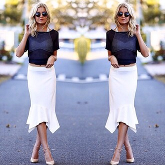 skirt white skirt pencil skirt white skirt white pencil skirt pencil skirt maurie and eve divergence clothing crop top and skirt flare skirt crop tops streetstyle