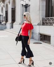 top,tumblr,red top,kick flare,black pants,pants,off the shoulder,off the shoulder top,sandals,sandal heels,high heel sandals,shoes
