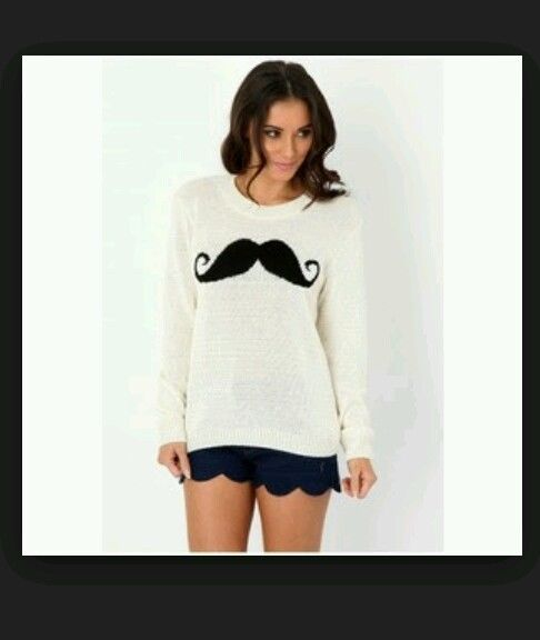 Cream moustache jumper, size m