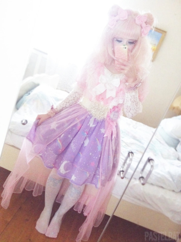 Skirt Cute Kawaii Galaxy Print Moon Unicorn Pastel