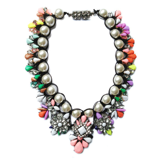 jewels multicolored necklace necklace statement necklace bold necklace fashion fashion necklace celebrity style designer necklace designer style bib necklace multicolor herjunction