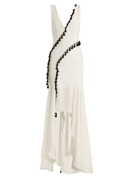 Galvan gown tassel embellished white dress