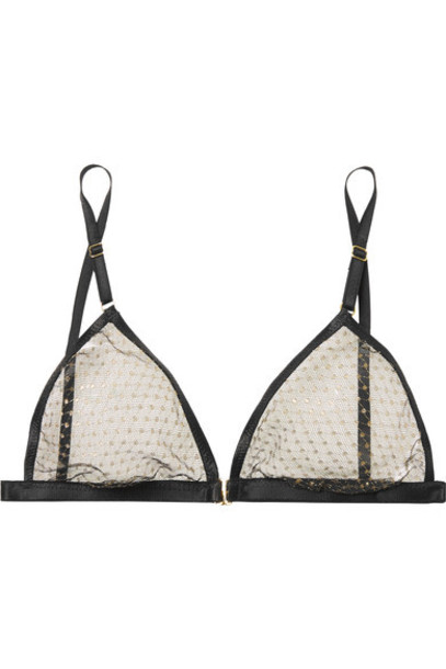 Le Petit Trou bra triangle embroidered metallic soft black underwear