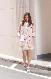 mellow mayo,blogger,skirt,shoes,pink coat,kawaii,kawaii bag,white shirt