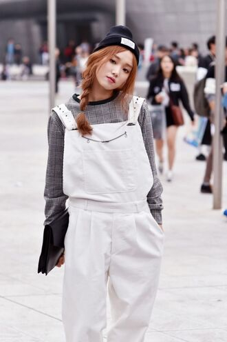 romper white overalls lee sung kyung celebrity