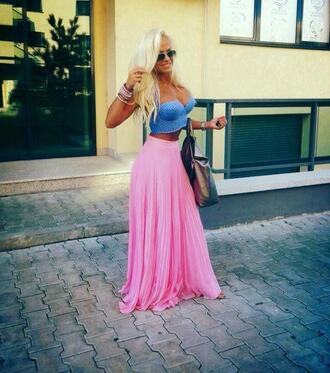 skirt summer spring cute pretty girly tumblr fashion beautiful maxi skirt outfit cute outfits 2014 crop tops steal beach ocean funny pink girly outfits tumblr instagram style bralette sunglasses summer outfits celebrity style top bustier