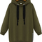 Green hooded long sleeve zipper loose sweatshirt -shein(sheinside)