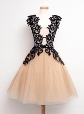 dress,cream and black lace dress