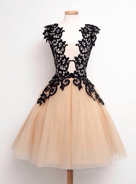 Dress: cream and black lace dress, champagne homecoming dresses ...