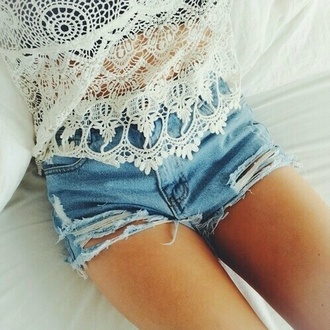 top white white top tank top white tank top lace top shorts denim shorts denim high waisted shorts summer shorts summer top summer outfits summer cute