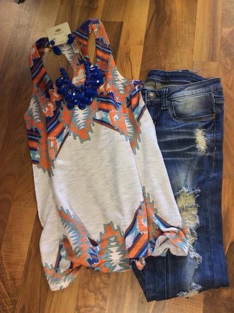 top jeans tank top aztec tank top shirt