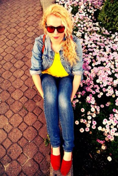 toms jeans denim jeans jacket yellow top red spring