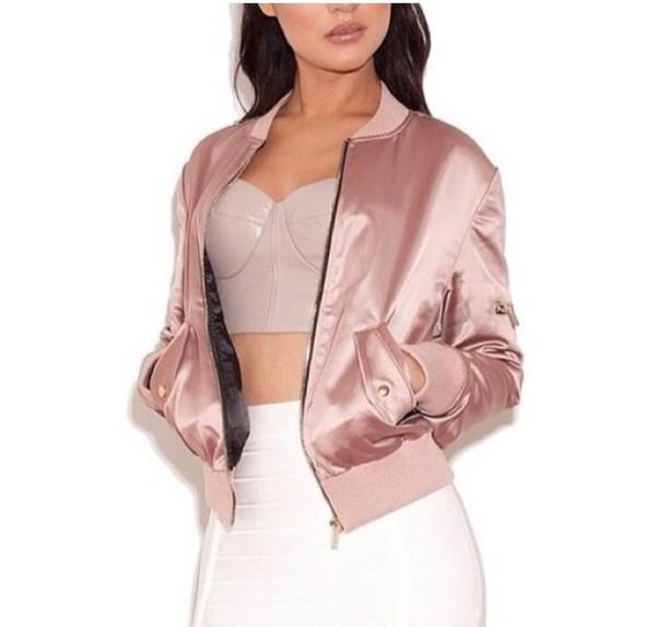 jacket satin silk blazer soft grunge pale baddies skirt top pink satin coat dusty pink bomber jacket retro bomber jacket satin bomber bra beige nude pink bomber jacket