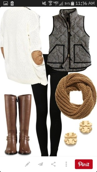 scarf brown scarf vest sweater