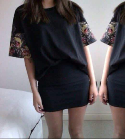 shirt black black shirt colour little black dress
