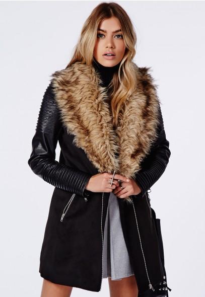 Orla Faux Fur Leather Biker Sleeve Coat Black