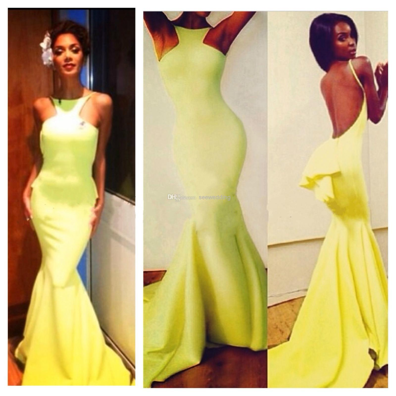 Cheap Wholesale Product - Discount Costello Mermaid Prom Dresses Nicole Scherzinger Bright Yellow Online with $109.95/Piece | DHgate