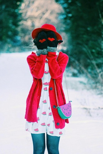 secret garden blogger hat dress watermelon print red cardigan gloves heart winter outfits