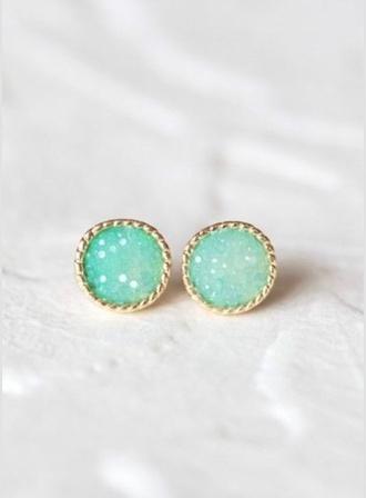 jewels aqua studs gold jewelry earrings rinestone