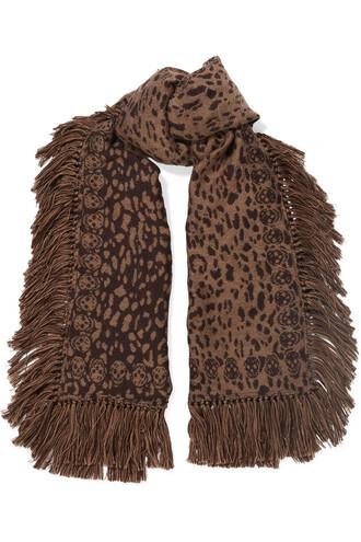 jacquard scarf silk wool print brown leopard print