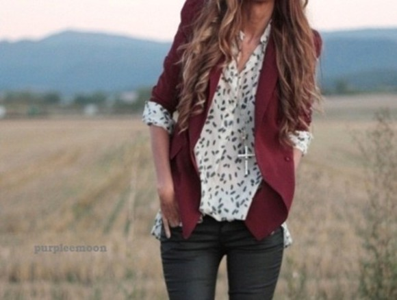 jacket red jacket blouse jeans fall red sweater black and white blouse