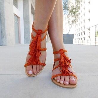 shoes sandals fringes orange braid braided summer gojane