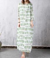 dress,long dress,loose print gown