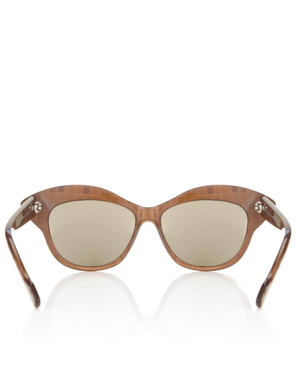 b8e0a26c526a Brown Mosaic Cat-Eye Sunglasses | Wunderkind Brown Mosaic Cat ...