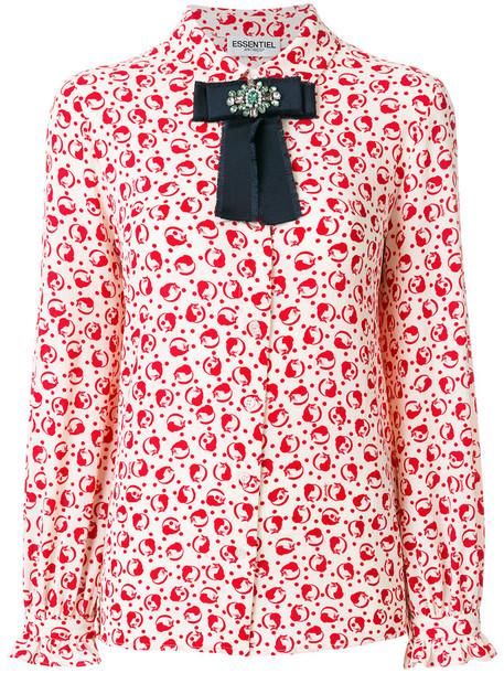 ESSENTIEL ANTWERP shirt bow women spandex white top