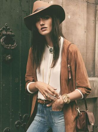 jacket camel mustard vintage mode ootd outfits fall camel jacket camel hat fedora brown hat fall outfits brown jacket