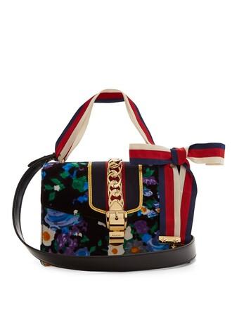 bag shoulder bag floral print velvet blue
