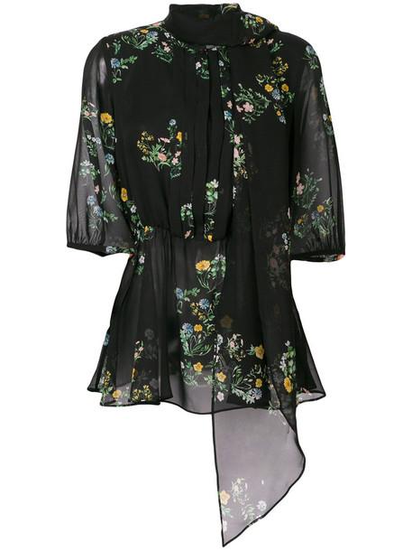 Max Mara Studio blouse women floral print black silk top