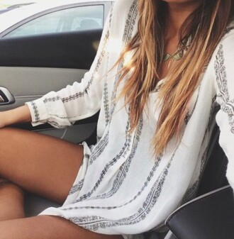 shirt clothes t-shirt white cute comfo dress black and white dress summer dress white dress lazy day blouse shirt dress bohemian summer pattern boho style flowy spring beach loose cover up lucky brand grey pattern white blouse romper design white romper boho top boho dress