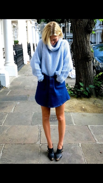 sweater american apparel blue wool