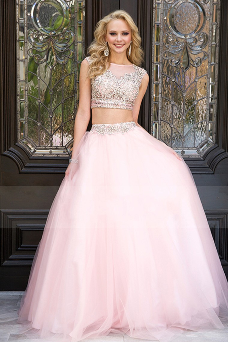 Sexy 2 Two Piece Prom Dresses 2015 A Line Cap Sleeves Pink Tulle
