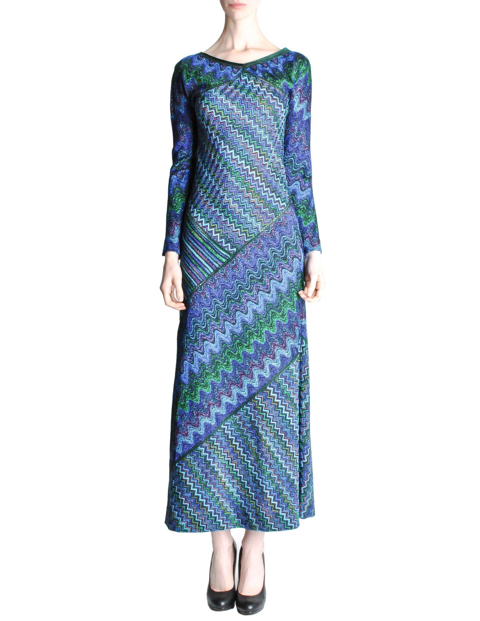 Missoni Vintage Colorful Metallic Maxi Dress