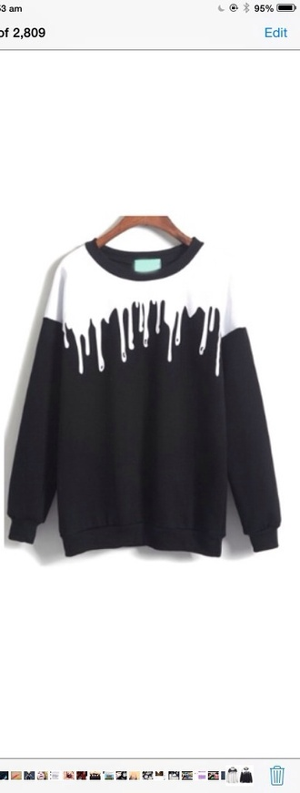 sweater black white jumper drip tumblr