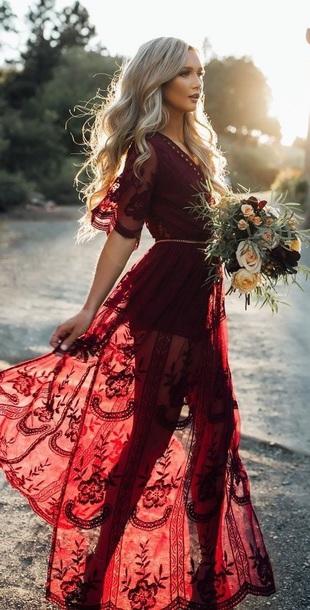 dress red dress boho lace dress red lace long dress