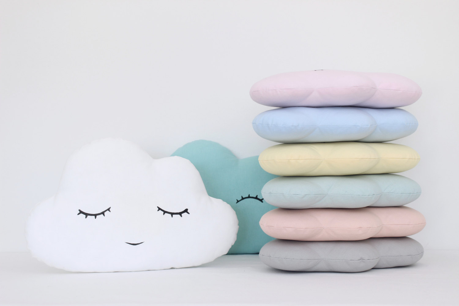 Cloud Pillow Eight Colors White Blue Mint Pale Yellow Pale Pink Baby Blue Turquoise Light Coral Or Gray Cloud Cushions