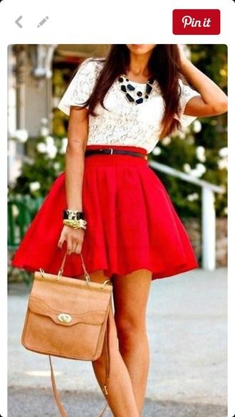skirt red skater skirt mini skirt cute