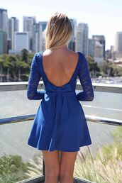 dress,xeniaboutique,fashion,clothes,blue,lace,sleeve,long sleeves,bow,bow dress