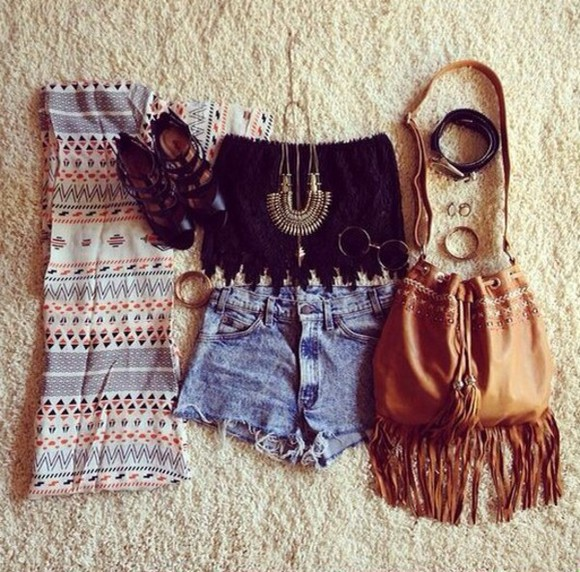 fringe shirt black black crop top bag shorts jeans shorts shoes