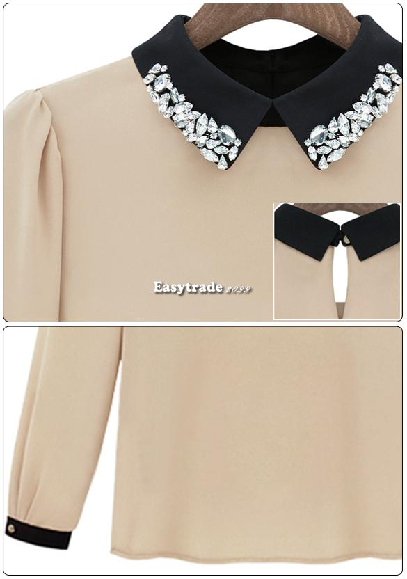 Fashion Women European Doll Collar Chiffon Long Sleeve Leisure Blouse Shirt Top | eBay