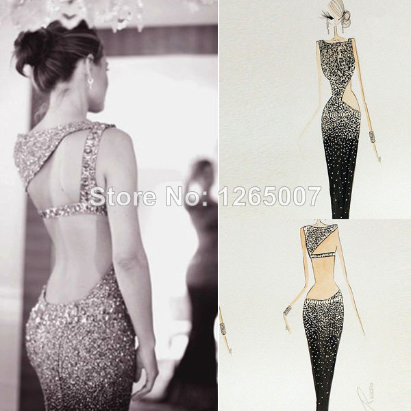 Aliexpress.com : Buy New Arrival Boat Neck Glitter Cut Out Open Back Long Beaded Rhinestones Mermaid Summer Bodycon Sparkly Prom Dress Fashion Gowns from Reliable dress swarovski suppliers on SFBridal