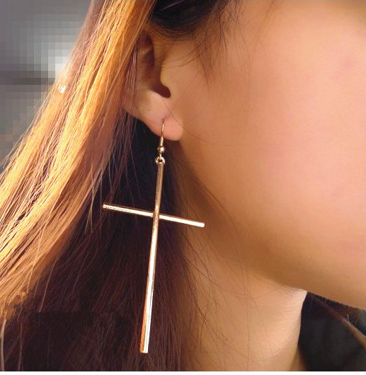 Golden silver cross dangle earring, grande déclaration geekery rocker boucles d'oreilles, boucle d'oreille gothique punk steampunk