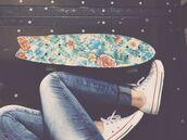 flowers,skateboard,penny board,board,style